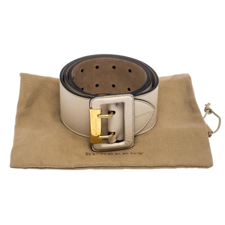 Burberry Beige Leather Cecile Waist Belt 95CM For Sale 2