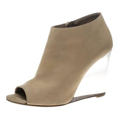 Burberry Beige Leather Reyardson Wedge Peep Toe Booties Size 38.5