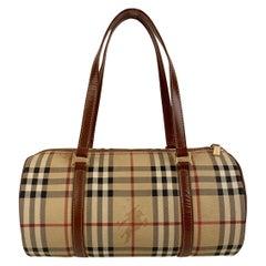 Burberry Beige Nova Check Canvas Handbag Satchel