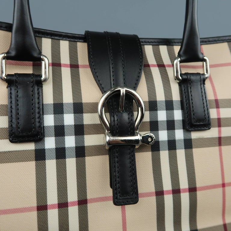 2d32d4ee464 BURBERRY shoulder tote bag comes in beige signature plaid print rubberized  canvas with black leather covered