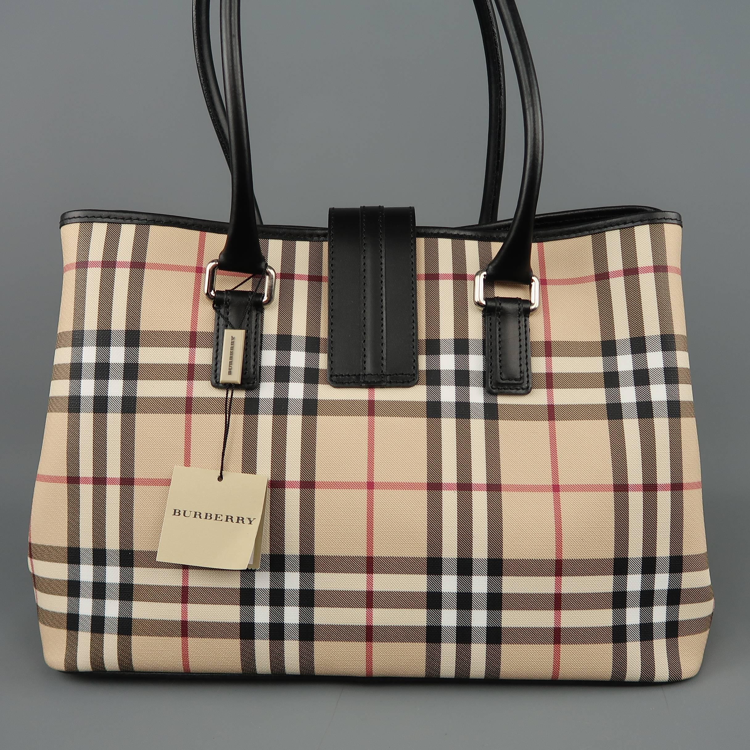 24b766c8fe8 New BURBERRY Handbag - Beige Plaid Coated Canvas and Black Leather Bag Tote  at 1stdibs