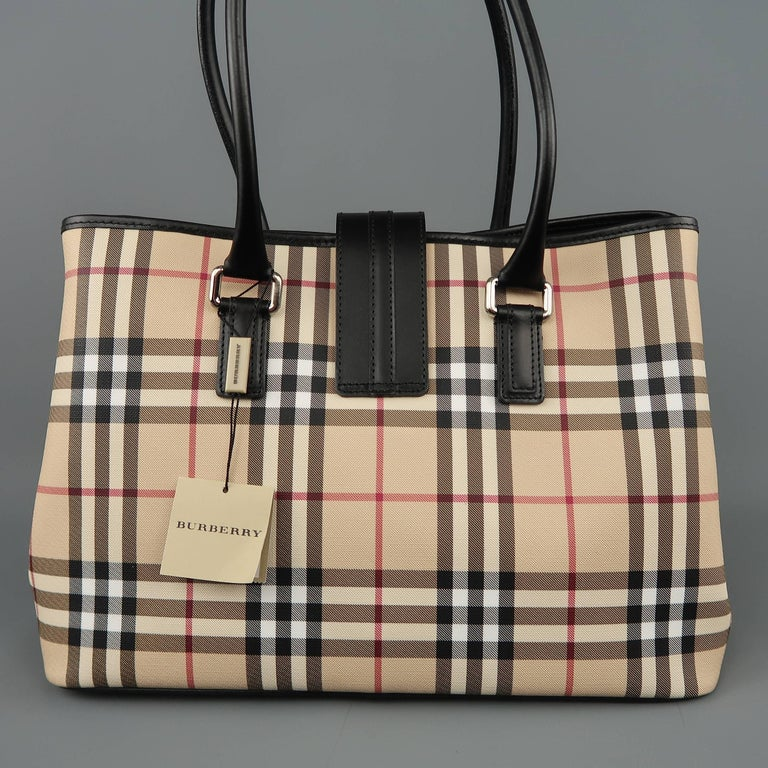 New BURBERRY Handbag - Beige Plaid Coated Canvas   Black Leather Bag Tote  For Sale 1 738eaf68e40b6