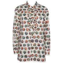 Burberry Beige Printed Cotton Ruffle Detail Alexa Shirt M