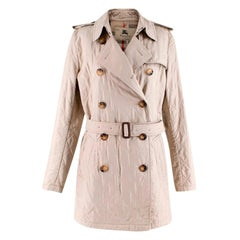 Burberry Beige Quilted Double-Breasted Belted Coat - Size US 8
