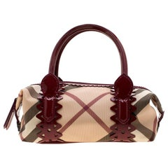 Burberry Beige/Red PVC and Patent Leather Nova Check Satchel