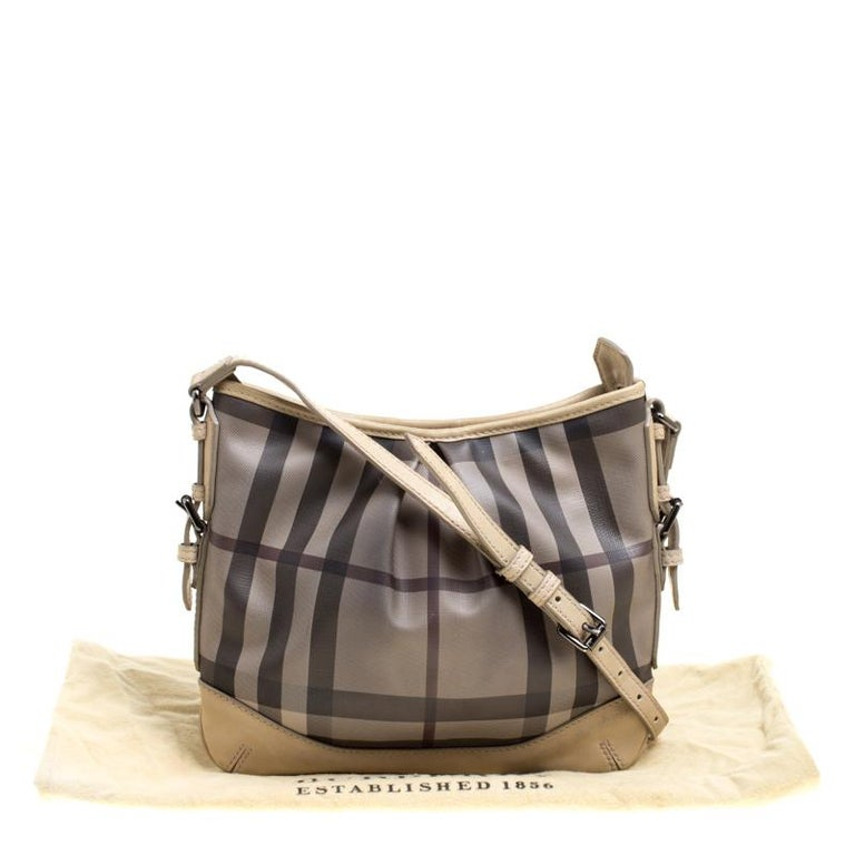 Burberry Beige Smoke Check PVC and Leather Crossbody Bag For Sale 9