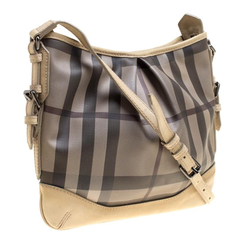 Women's Burberry Beige Smoke Check PVC and Leather Crossbody Bag For Sale