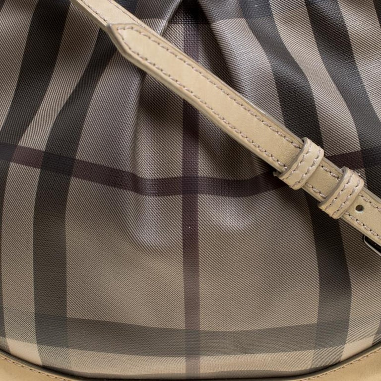 Burberry Beige Smoke Check PVC and Leather Crossbody Bag For Sale 1
