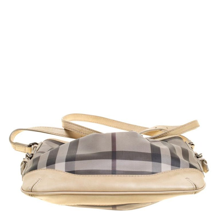 Burberry Beige Smoke Check PVC and Leather Crossbody Bag For Sale 2