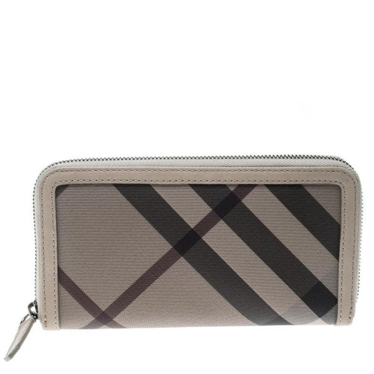6faa164abc9 Burberry Beige Smoked Check Zip Around Wallet at 1stdibs