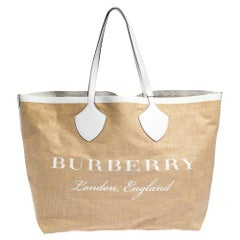 Burberry Beige/White Jute and Leather All Giant Tote
