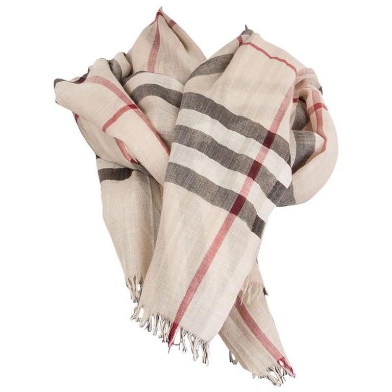 BURBERRY beige wool & silk CHECK Scarf Shawl For Sale