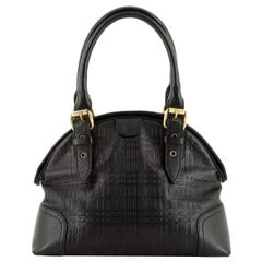 Burberry Belted Dome Satchel Check Embossed Leather Small
