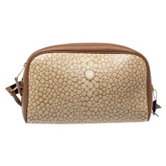 Burberry Biege Leather Cube Bumbag
