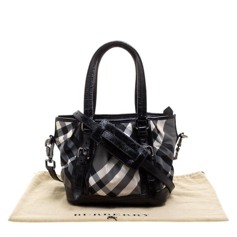 a6bebb01d141a Burberry Black Beat Check Nylon and Patent Leather Small Lowry Tote For Sale  8