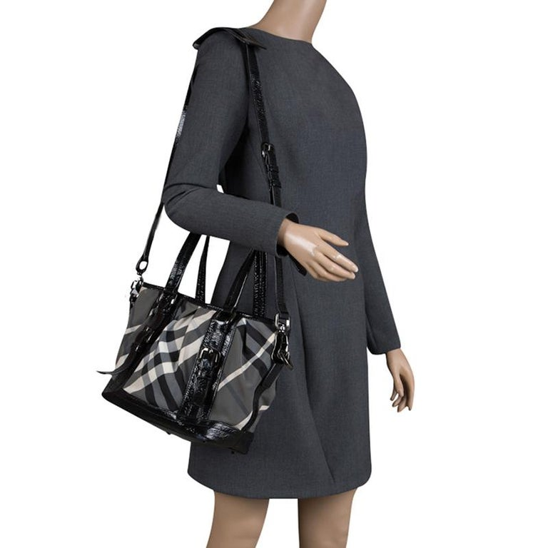 5370f15ce Burberry Black Beat Check Nylon and Patent Leather Small Lowry Tote In Good  Condition For Sale