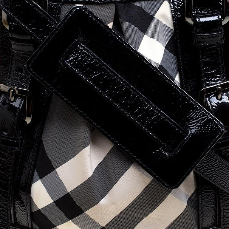 28c8ee7f0cd18 Burberry Black Beat Check Nylon and Patent Leather Small Lowry Tote For Sale  1