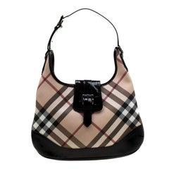 Burberry Black/Beige Nova Check PVC and Patent Leather Brooke Hobo