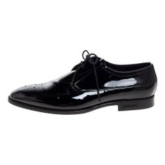 Burberry Black Brogue Patent Leather Lace Up Derby Size 41