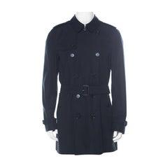 Burberry Black Cotton Gabardine Trench Coat L