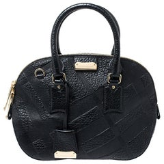 Burberry Black Embossed Leather Small Orchard Bowler Bag