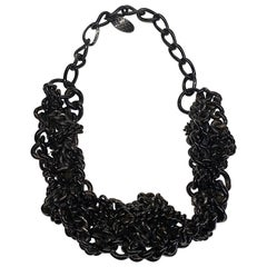 Burberry Black Enamel Large Chain Link Necklace
