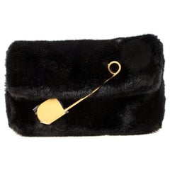 Burberry Black Faux Fur Pin Clutch
