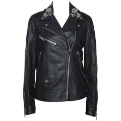 Burberry Black Floral Embroidered Leather Peebles Jacket M