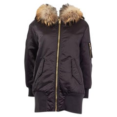 BURBERRY black FUR TRIM BOMBER STYLE PARKA Coat Jacket XS