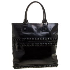 Burberry Black Glazed Leather Studded Tote