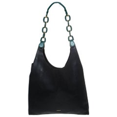 Burberry Black/Green Leather Shopper Hobo