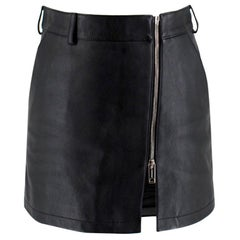 Burberry Black High Leather Waist Mini Skirt XXS UK 4