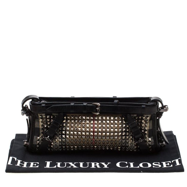 Burberry Black House Check Canvas and Leather Studded Clutch For Sale 8