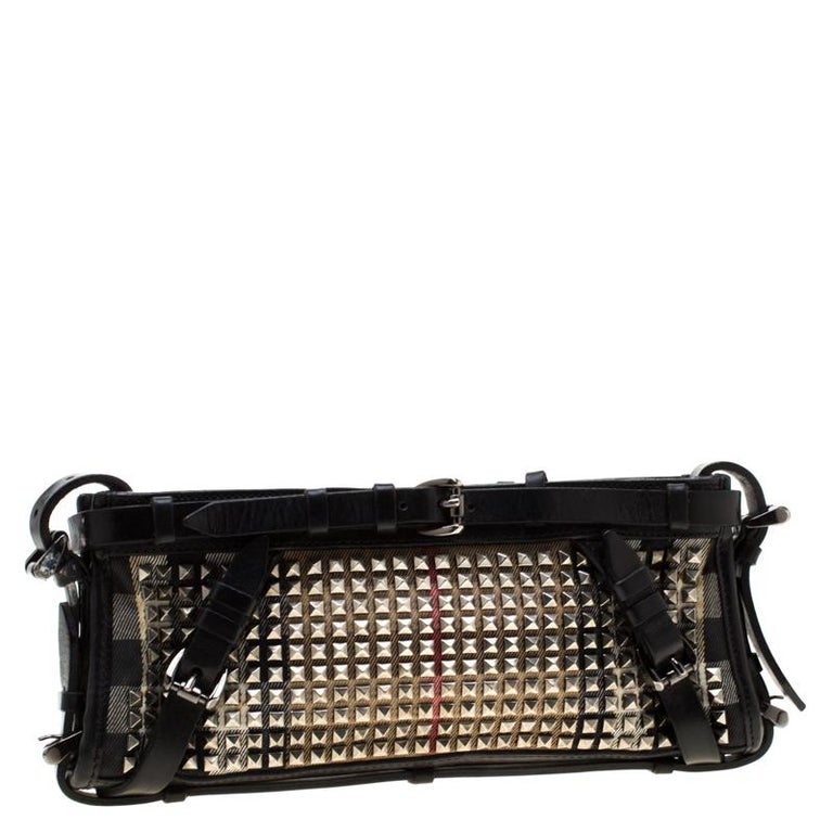 Women's Burberry Black House Check Canvas and Leather Studded Clutch For Sale