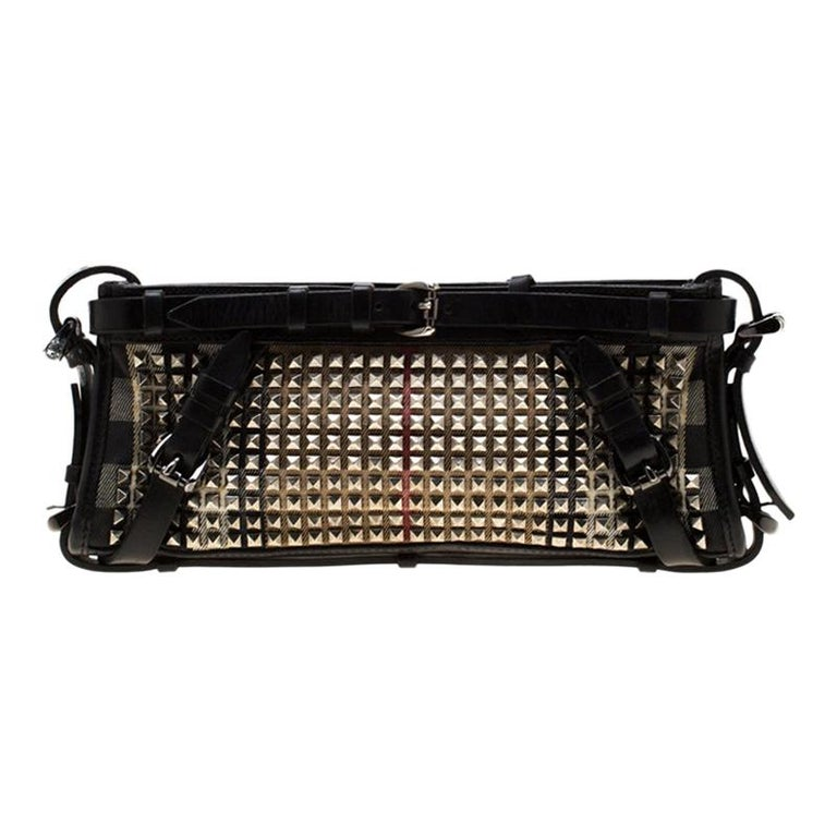 Burberry Black House Check Canvas and Leather Studded Clutch For Sale