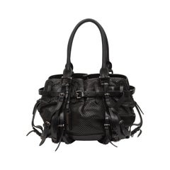 Burberry Black Large Perforated Leather Satchel