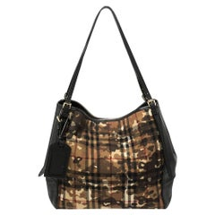 Burberry Black Leather and Camouflage Horseferry Check Nylon Small Canter Tote