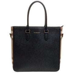 Burberry Black Leather and Housecheck Canvas Zip Tote