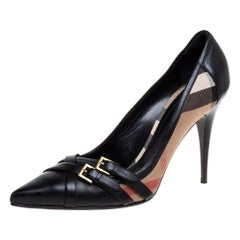 Burberry Black Leather And Novacheck Canvas Detail Pointed Toe Pumps Size 41