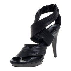 Burberry Black Leather Back Zip Platform Sandals Size 39