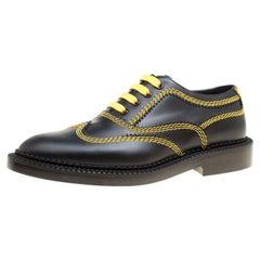 Burberry Black Leather Bertram Contrast Triple Stitch Lace Up Oxfords Size 38.5