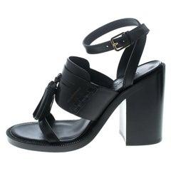 Burberry Black Leather Bethany Tassel Detail Block Heel Sandals Size 40