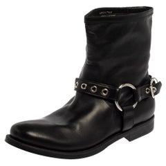 Burberry Black Leather Buckle Detail Ankle Boots Size 39