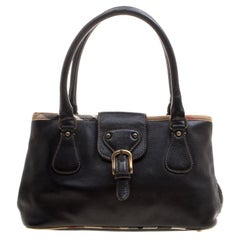 Burberry Black Leather Buckle Tote