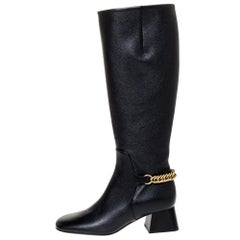 Burberry Black Leather Chain Detail Knee Length Boots Size 35.5