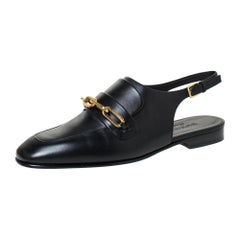 Burberry Black Leather ChelTown Chain Detail Slingback Loafer Sandals Size 37