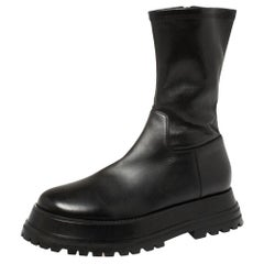 Burberry Black Leather Chunky Zipper Boots Size 40