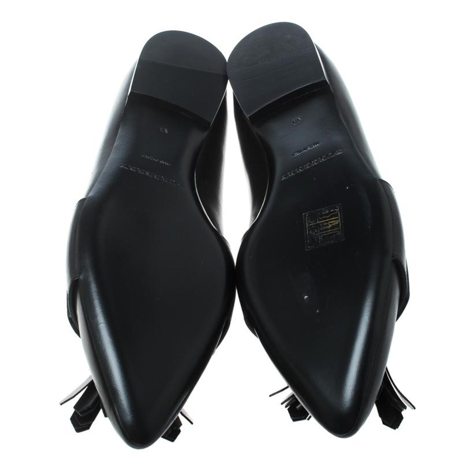 fd4bd6b2a78 Burberry Black Leather Coledale Tassel Detail Pointed Toe Penny Loafers  Size 39 For Sale at 1stdibs