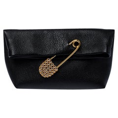 Burberry Black Leather Crystal Embellished Pin Clutch