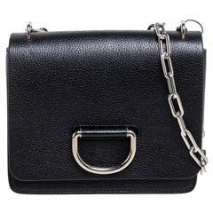 Burberry Black Leather D-Ring Shoulder Bag
